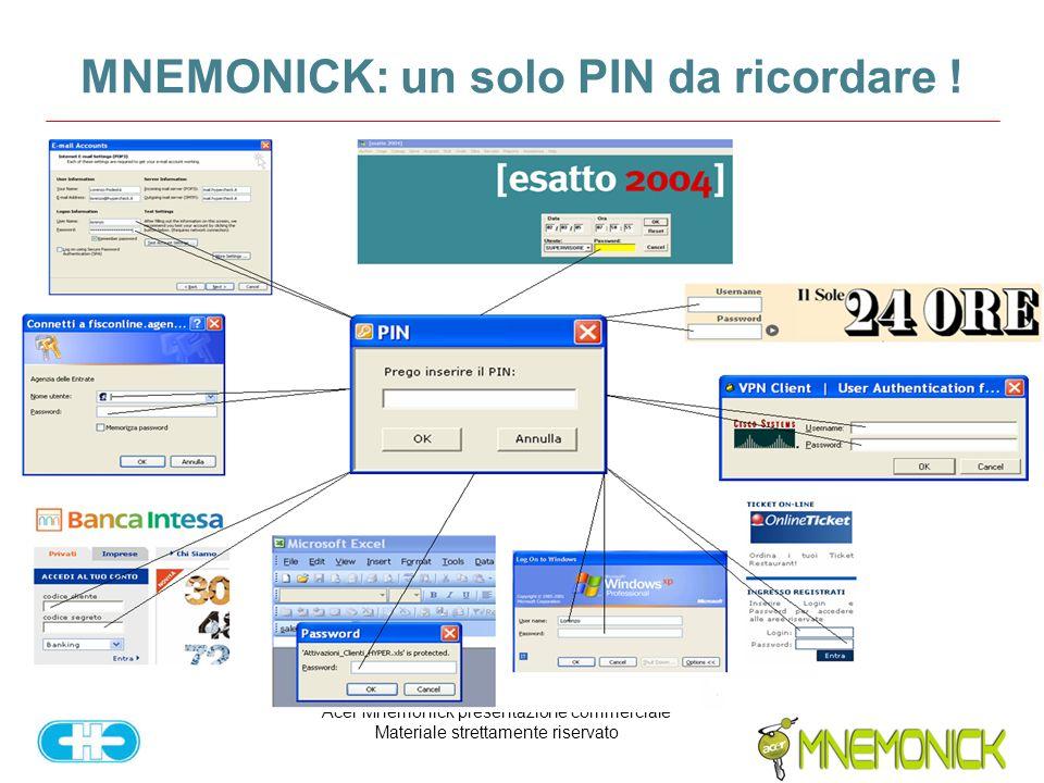 Acer Mnemonick presentazione commerciale Materiale strettamente riservato MNEMONICK: un solo PIN da ricordare !