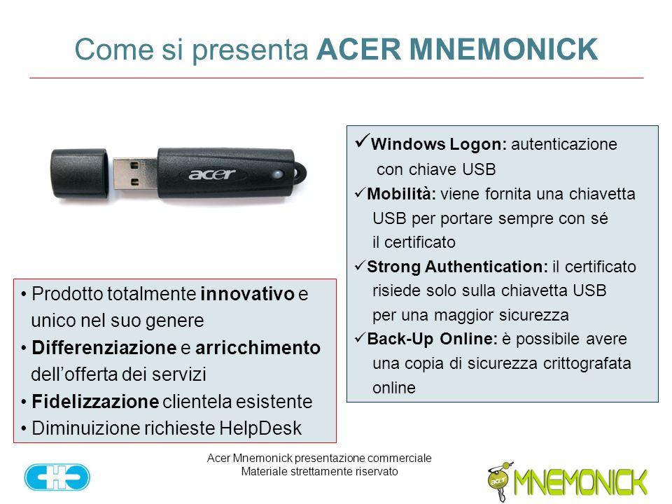 Acer Mnemonick presentazione commerciale Materiale strettamente riservato Come si presenta ACER MNEMONICK Prodotto totalmente innovativo e unico nel suo genere Differenziazione e arricchimento dellofferta dei servizi Fidelizzazione clientela esistente Diminuizione richieste HelpDesk Windows Logon: autenticazione con chiave USB Mobilità: viene fornita una chiavetta USB per portare sempre con sé il certificato Strong Authentication: il certificato risiede solo sulla chiavetta USB per una maggior sicurezza Back-Up Online: è possibile avere una copia di sicurezza crittografata online