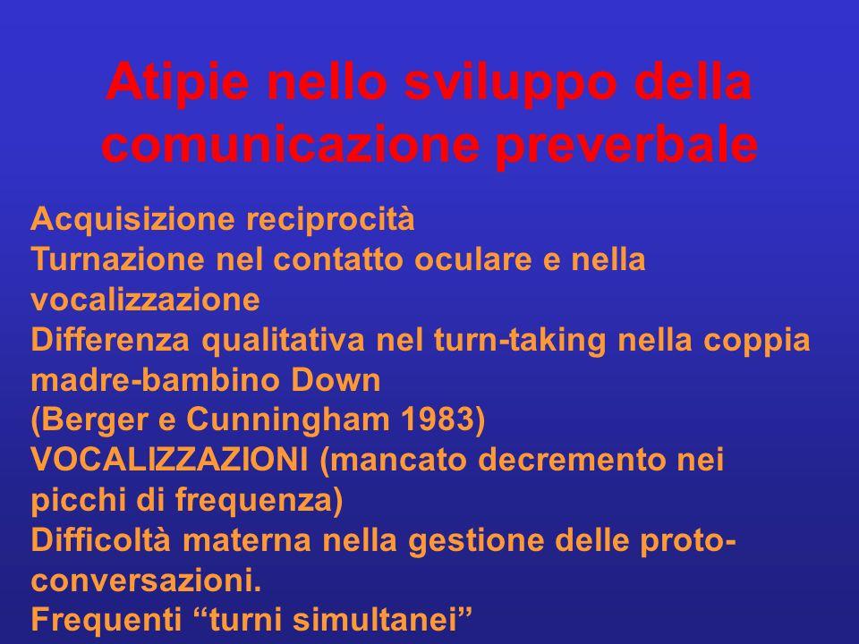 Atipie nello sviluppo della comunicazione preverbale Acquisizione reciprocità Turnazione nel contatto oculare e nella vocalizzazione Differenza qualit
