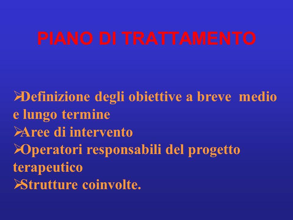PIANO DI TRATTAMENTO Definizione degli obiettive a breve medio e lungo termine Aree di intervento Operatori responsabili del progetto terapeutico Stru