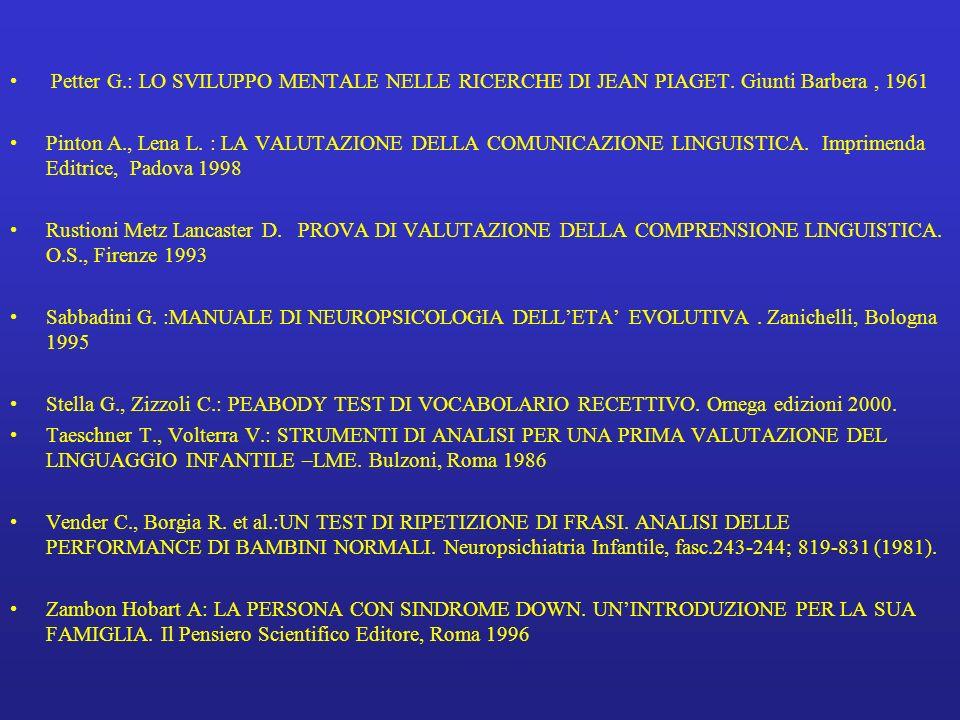 Petter G.: LO SVILUPPO MENTALE NELLE RICERCHE DI JEAN PIAGET. Giunti Barbera, 1961 Pinton A., Lena L. : LA VALUTAZIONE DELLA COMUNICAZIONE LINGUISTICA