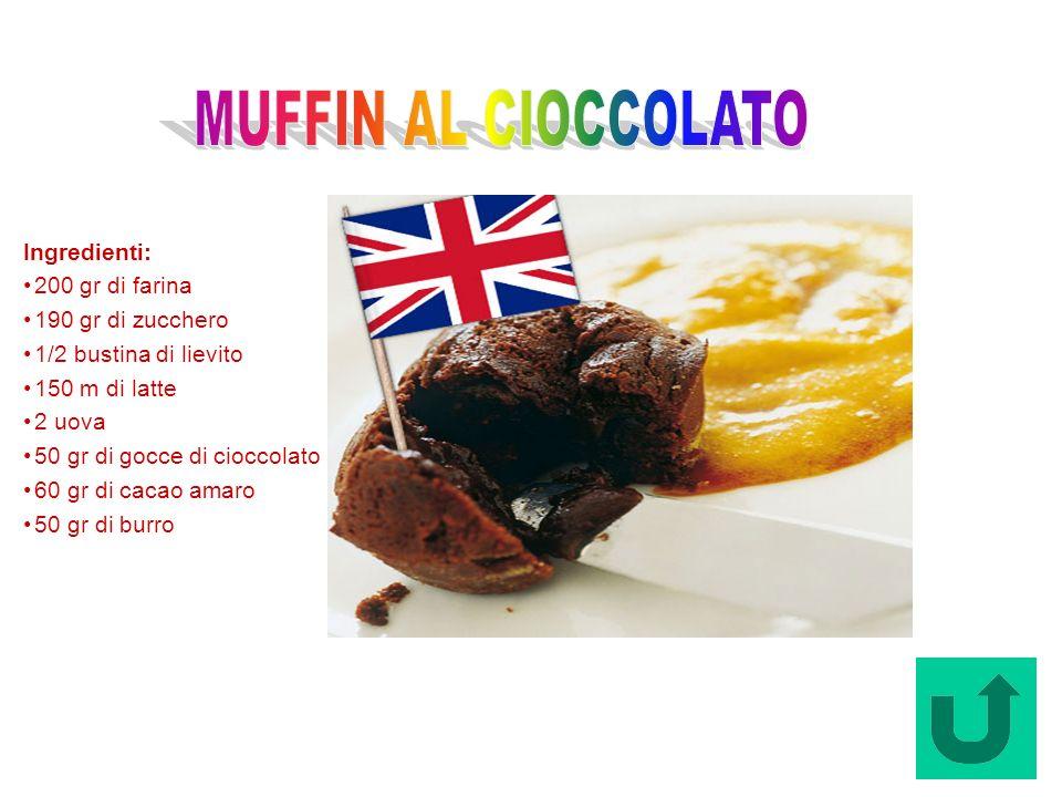 Muffin al Cioccolato (Regno Unito) Ingredienti: 200 gr di farina 190 gr di zucchero 1/2 bustina di lievito 150 m di latte 2 uova 50 gr di gocce di cio