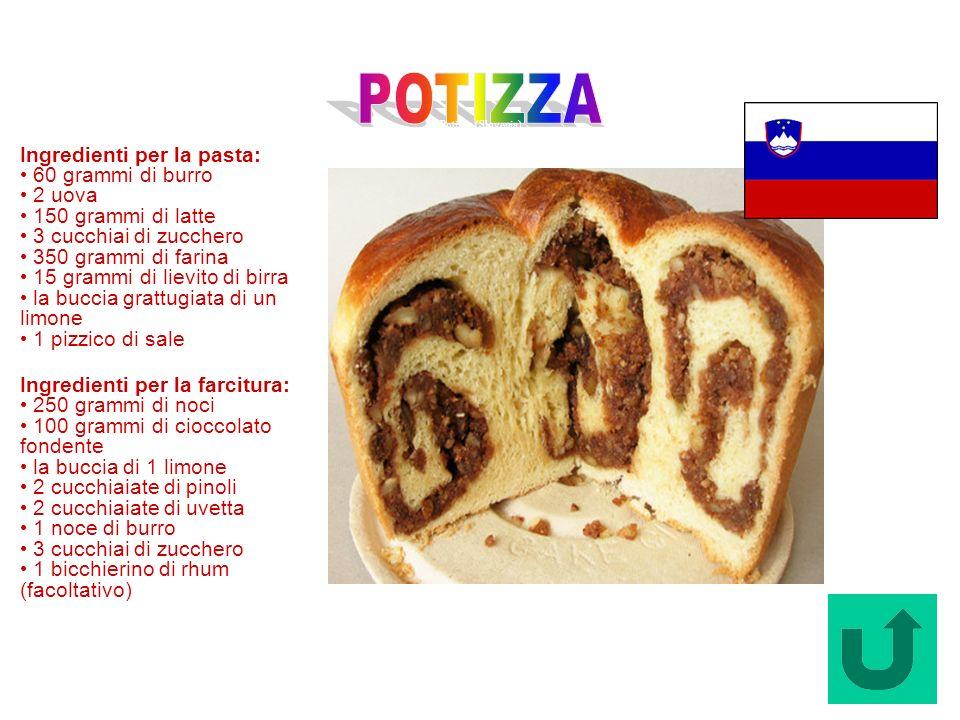 Potizza (Slovenia) Ingredienti per la pasta: 60 grammi di burro 2 uova 150 grammi di latte 3 cucchiai di zucchero 350 grammi di farina 15 grammi di li
