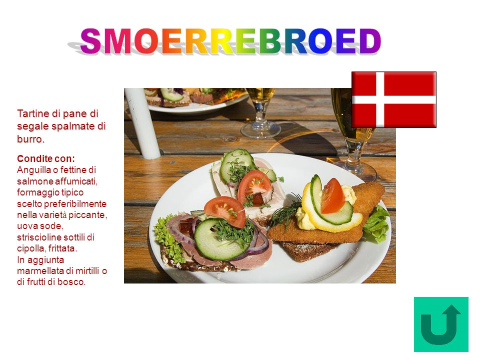 Smoerrebroed (Danimarca) Tartine di pane di segale spalmate di burro. Condite con: Anguilla o fettine di salmone affumicati, formaggio tipico scelto p