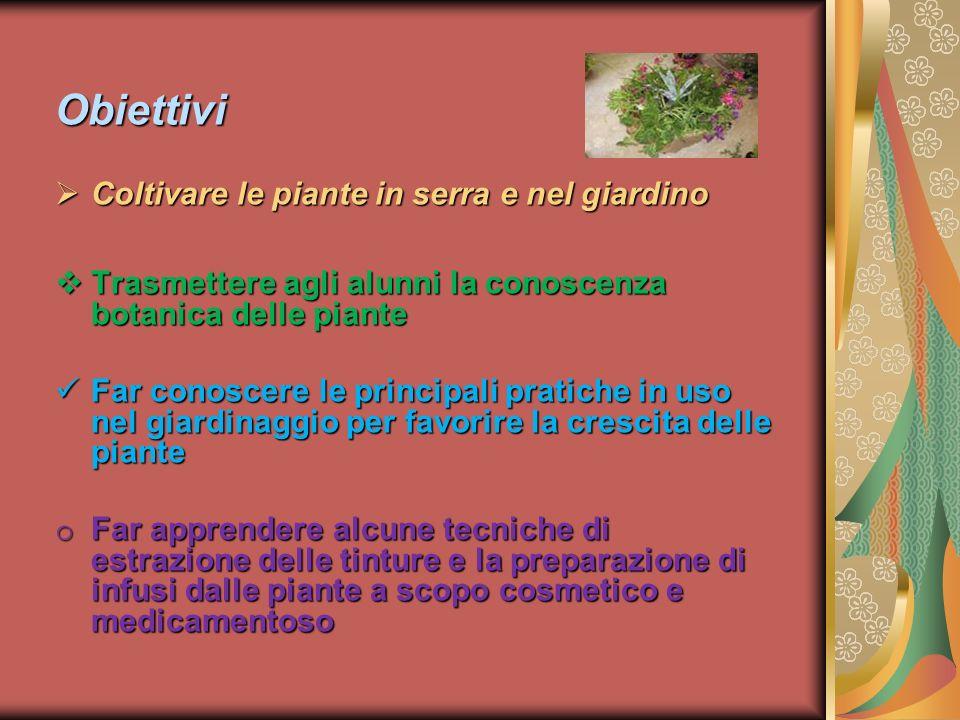 Obiettivi Coltivare le piante in serra e nel giardino Coltivare le piante in serra e nel giardino Trasmettere agli alunni la conoscenza botanica delle