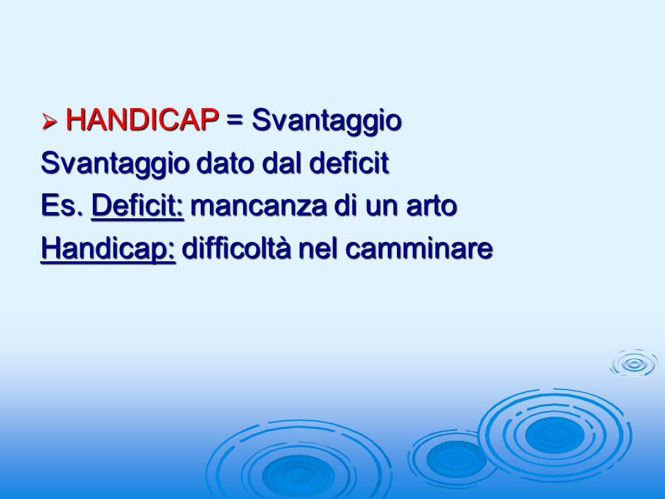 HANDICAP = Svantaggio HANDICAP = Svantaggio Svantaggio dato dal deficit Es.