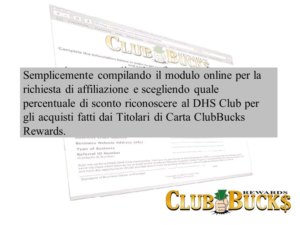 Semplicemente compilando il modulo online per la richiesta di affiliazione e scegliendo quale percentuale di sconto riconoscere al DHS Club per gli ac