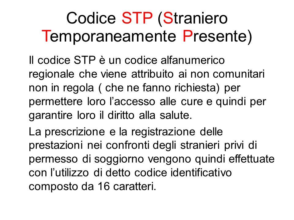 Codice STP (Straniero Temporaneamente Presente) Il codice STP è un codice alfanumerico regionale che viene attribuito ai non comunitari non in regola