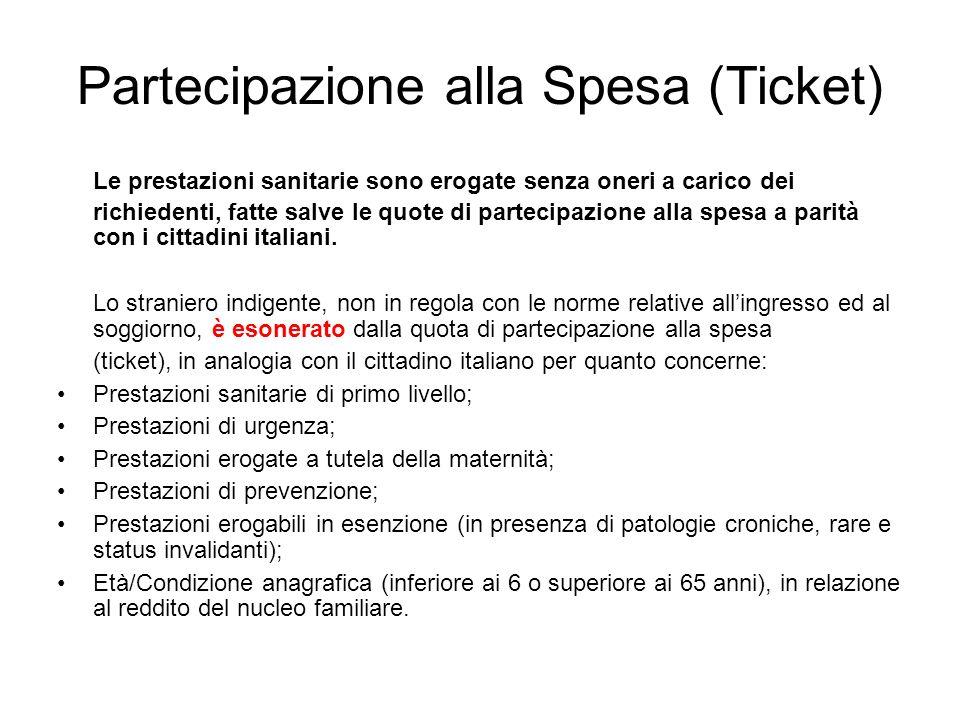 Partecipazione alla Spesa (Ticket) Le prestazioni sanitarie sono erogate senza oneri a carico dei richiedenti, fatte salve le quote di partecipazione