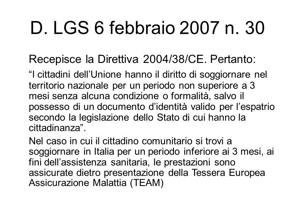 D. LGS 6 febbraio 2007 n. 30 Recepisce la Direttiva 2004/38/CE. Pertanto: I cittadini dellUnione hanno il diritto di soggiornare nel territorio nazion