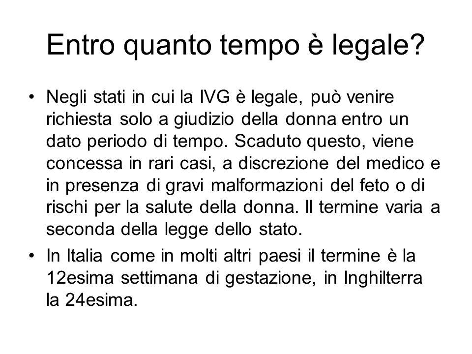 Entro quanto tempo è legale? Negli stati in cui la IVG è legale, può venire richiesta solo a giudizio della donna entro un dato periodo di tempo. Scad