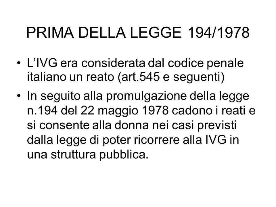PRIMA DELLA LEGGE 194/1978 LIVG era considerata dal codice penale italiano un reato (art.545 e seguenti) In seguito alla promulgazione della legge n.1