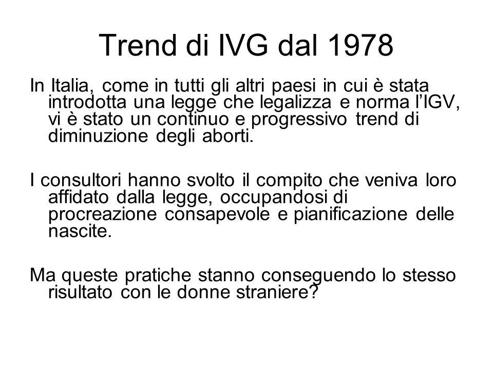Trend di IVG dal 1978 In Italia, come in tutti gli altri paesi in cui è stata introdotta una legge che legalizza e norma lIGV, vi è stato un continuo