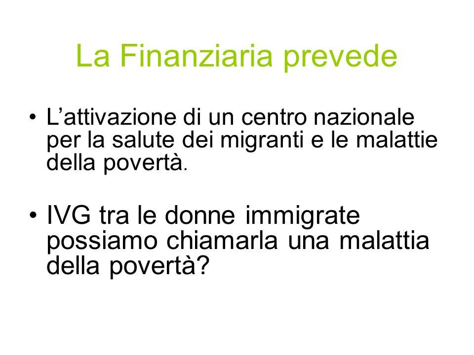 La Finanziaria prevede Lattivazione di un centro nazionale per la salute dei migranti e le malattie della povertà. IVG tra le donne immigrate possiamo