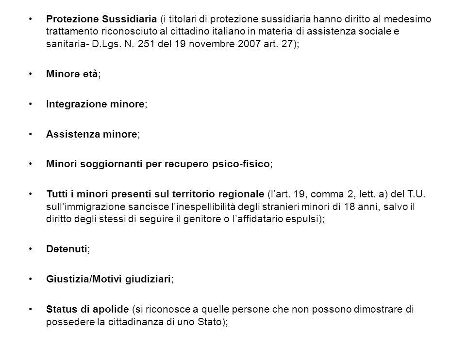 Protezione Sussidiaria (i titolari di protezione sussidiaria hanno diritto al medesimo trattamento riconosciuto al cittadino italiano in materia di as