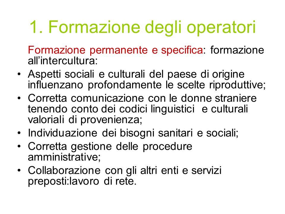 1. Formazione degli operatori Formazione permanente e specifica: formazione allintercultura: Aspetti sociali e culturali del paese di origine influenz