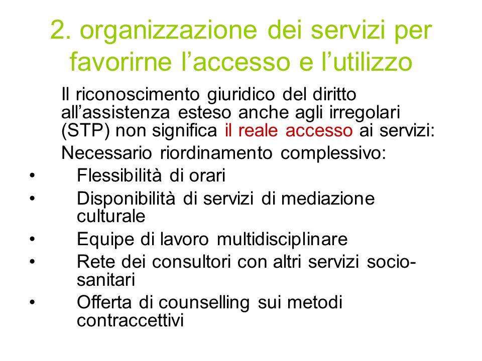 2. organizzazione dei servizi per favorirne laccesso e lutilizzo Il riconoscimento giuridico del diritto allassistenza esteso anche agli irregolari (S