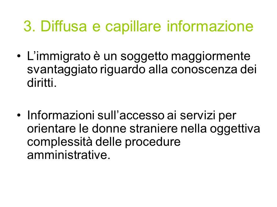 3. Diffusa e capillare informazione Limmigrato è un soggetto maggiormente svantaggiato riguardo alla conoscenza dei diritti. Informazioni sullaccesso