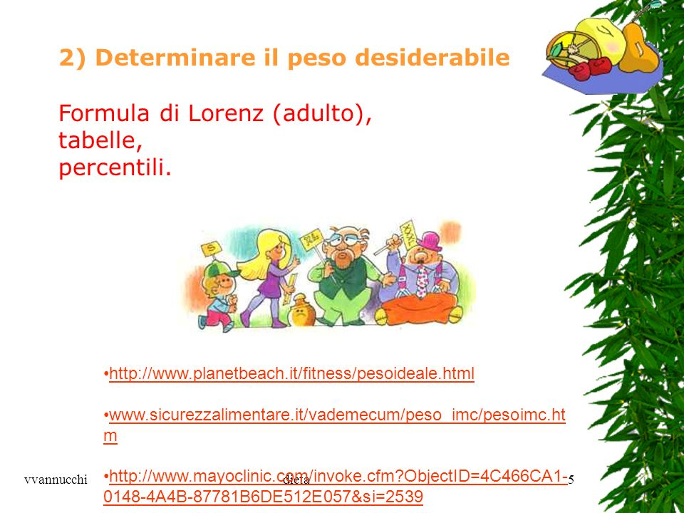 vvannucchidieta5 2) Determinare il peso desiderabile Formula di Lorenz (adulto), tabelle, percentili. http://www.planetbeach.it/fitness/pesoideale.htm