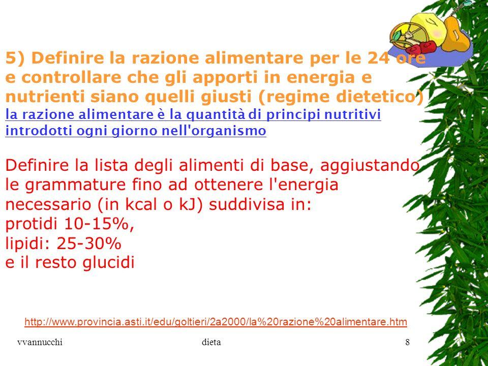 vvannucchidieta8 http://www.provincia.asti.it/edu/goltieri/2a2000/la%20razione%20alimentare.htm 5) Definire la razione alimentare per le 24 ore e cont