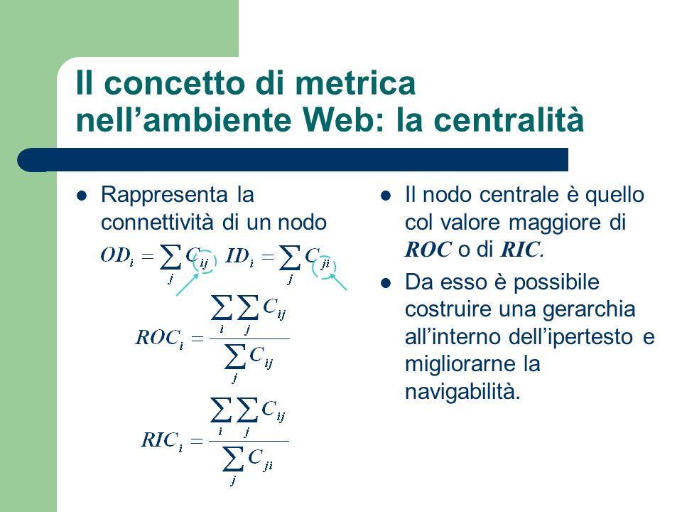 Il concetto di metrica nellambiente Web: la centralità Rappresenta la connettività di un nodo Il nodo centrale è quello col valore maggiore di ROC o di RIC.