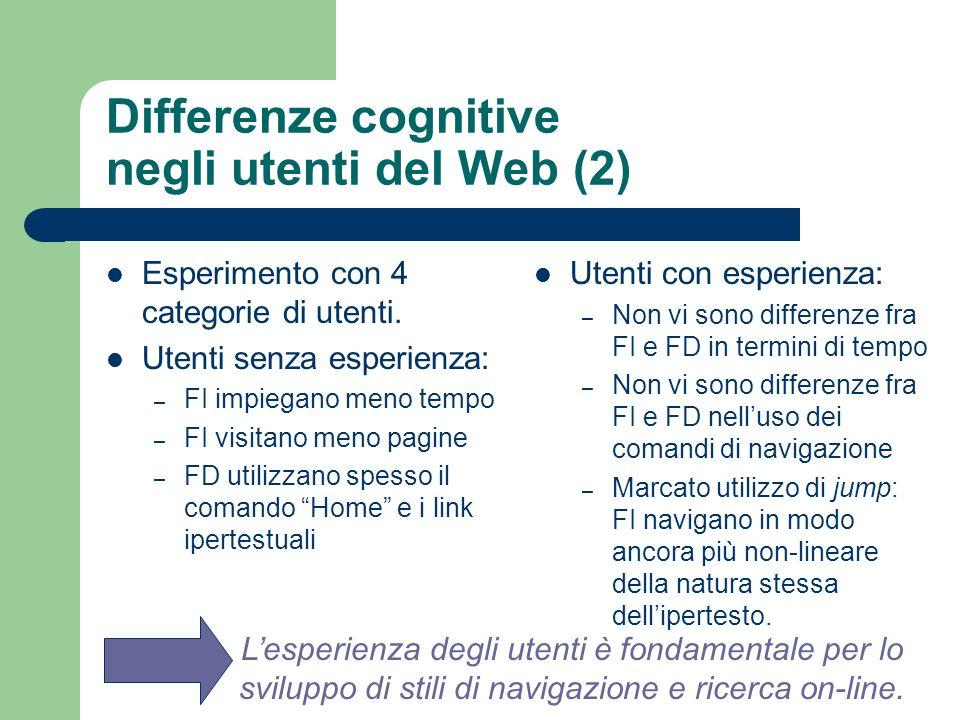 Differenze cognitive negli utenti del Web (2) Esperimento con 4 categorie di utenti. Utenti senza esperienza: – FI impiegano meno tempo – FI visitano