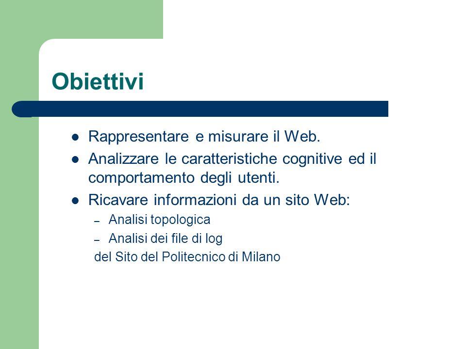 Obiettivi Rappresentare e misurare il Web. Analizzare le caratteristiche cognitive ed il comportamento degli utenti. Ricavare informazioni da un sito