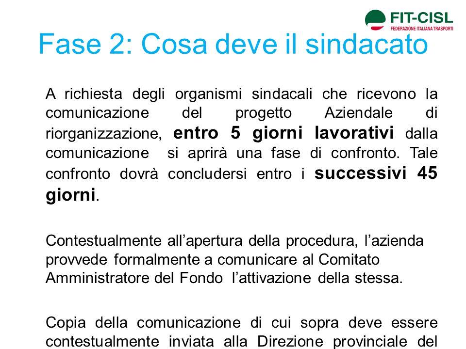 Fase 2: Cosa deve il sindacato A richiesta degli organismi sindacali che ricevono la comunicazione del progetto Aziendale di riorganizzazione, entro 5