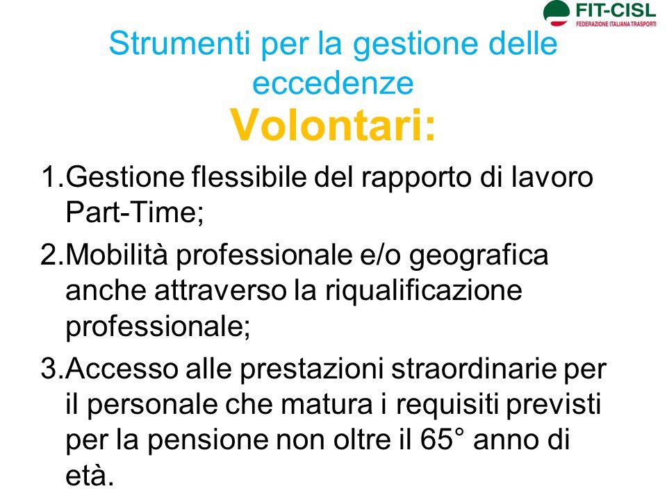 Strumenti per la gestione delle eccedenze Volontari: 1.Gestione flessibile del rapporto di lavoro Part-Time; 2.Mobilità professionale e/o geografica a