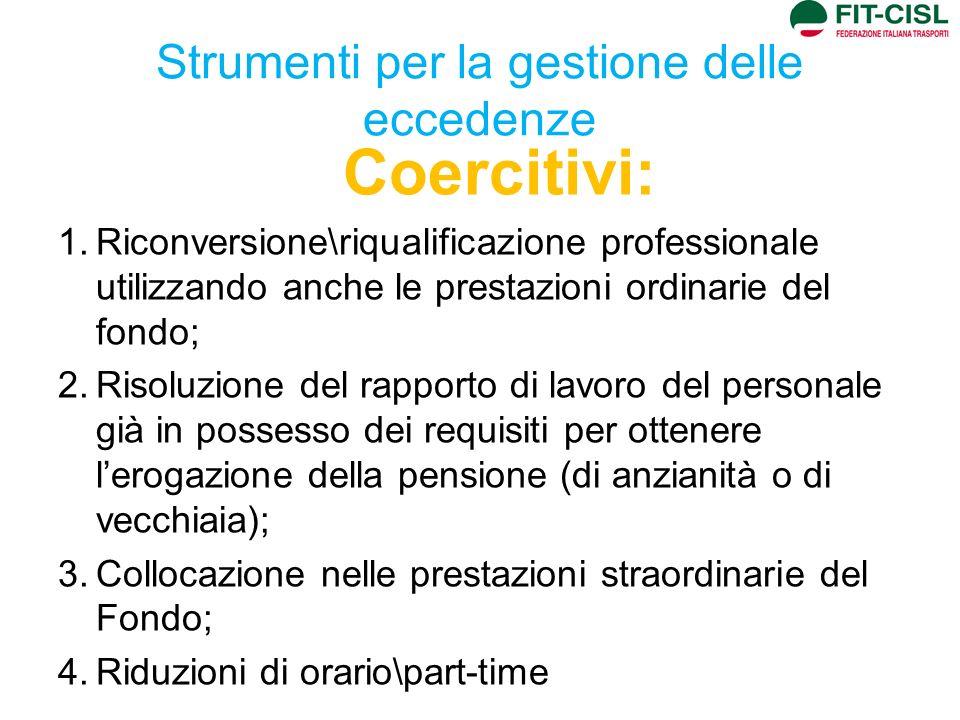 Strumenti per la gestione delle eccedenze Coercitivi: 1.Riconversione\riqualificazione professionale utilizzando anche le prestazioni ordinarie del fo
