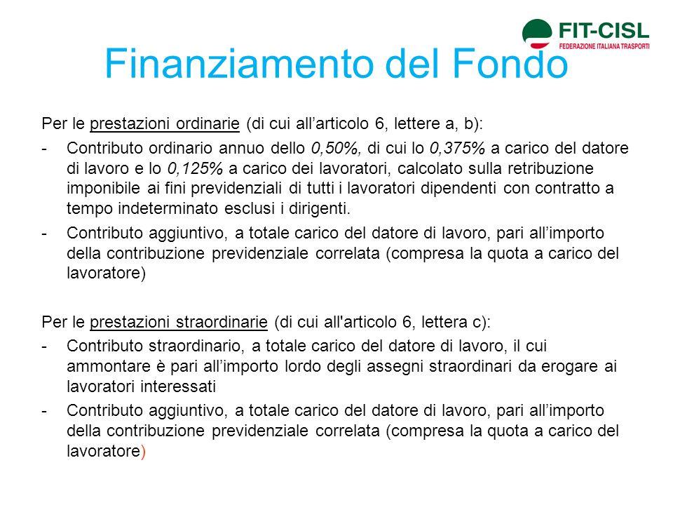 Finanziamento del Fondo Per le prestazioni ordinarie (di cui allarticolo 6, lettere a, b): -Contributo ordinario annuo dello 0,50%, di cui lo 0,375% a