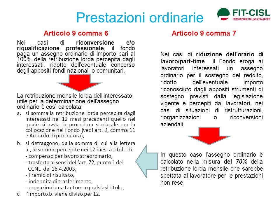 Prestazioni ordinarie Articolo 9 comma 6 Nei casi di riconversione e/o riqualificazione professionale, il fondo paga un assegno ordinario di importo p