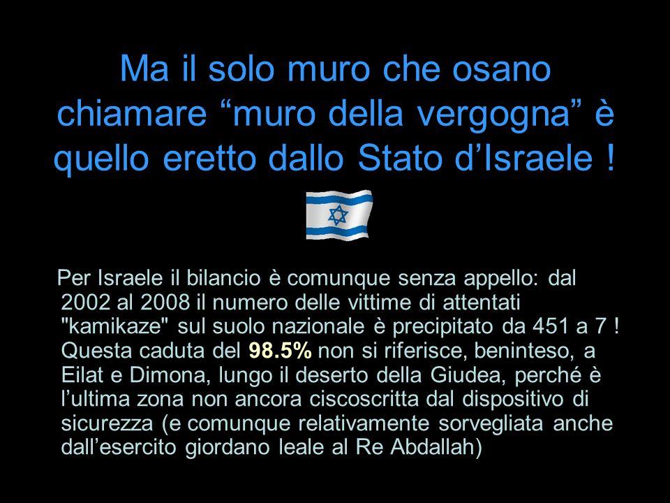Ma il solo muro che osano chiamare muro della vergogna è quello eretto dallo Stato dIsraele ! Per Israele il bilancio è comunque senza appello: dal 20