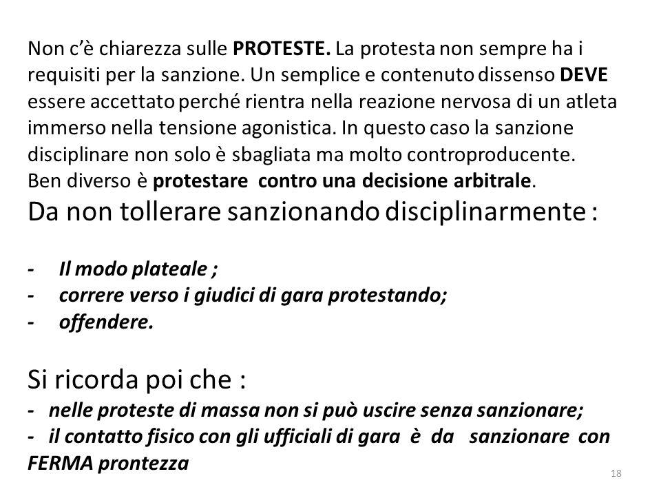 Non cè chiarezza sulle PROTESTE. La protesta non sempre ha i requisiti per la sanzione.