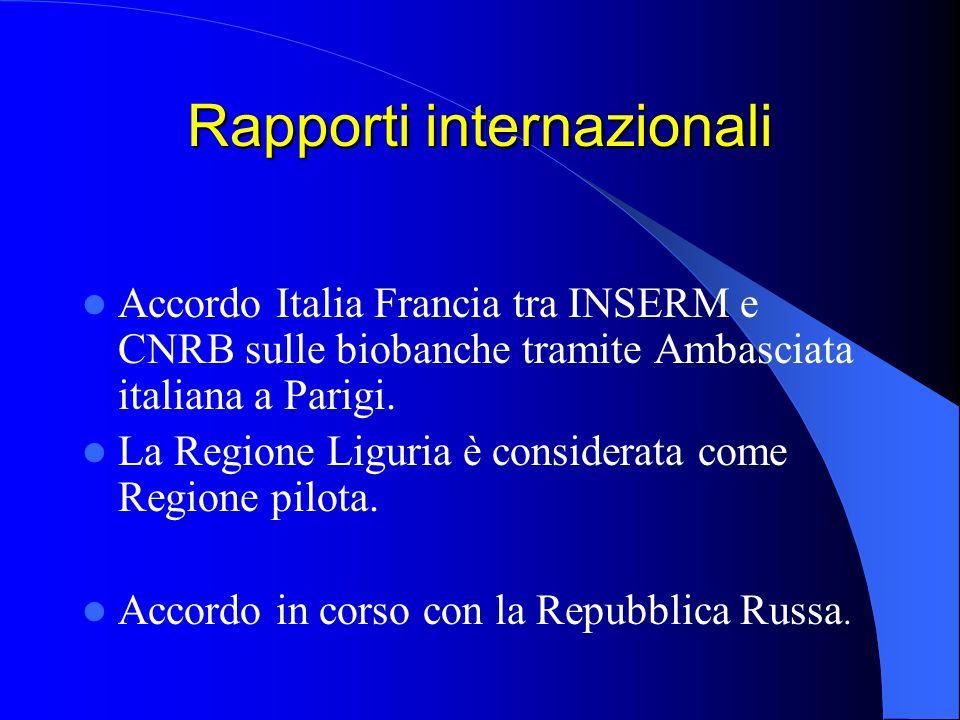 Rapporti internazionali Accordo Italia Francia tra INSERM e CNRB sulle biobanche tramite Ambasciata italiana a Parigi.