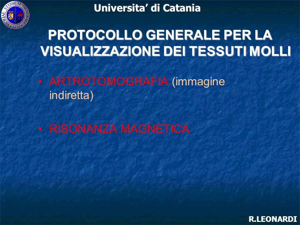 ARTROTOMOGRAFIA (immagine indiretta) RISONANZA MAGNETICA PROTOCOLLO GENERALE PER LA VISUALIZZAZIONE DEI TESSUTI MOLLI