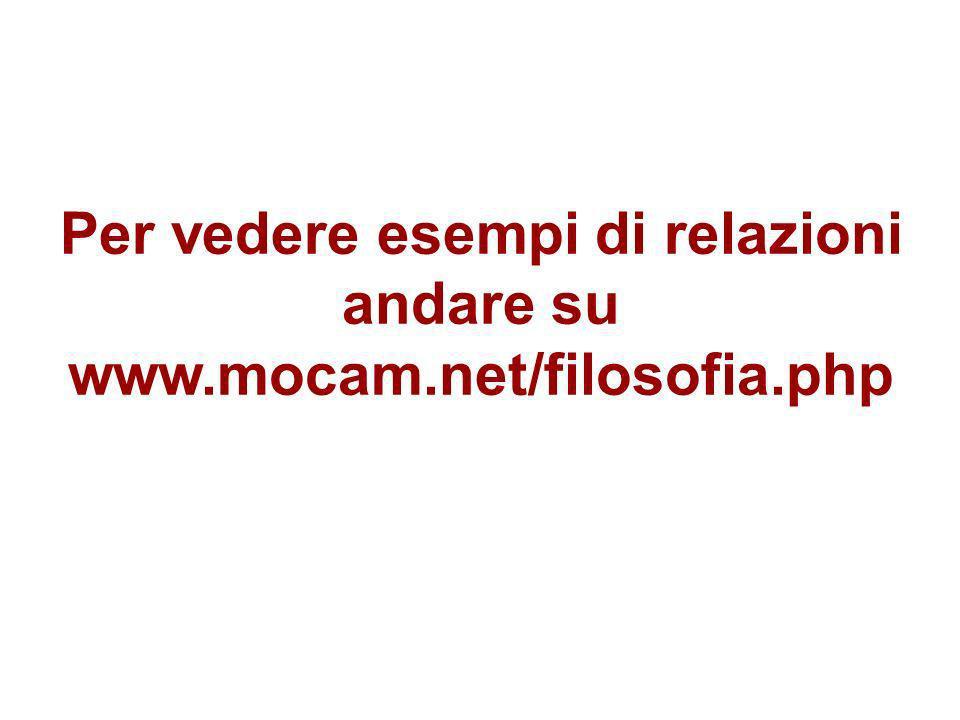 Per vedere esempi di relazioni andare su www.mocam.net/filosofia.php
