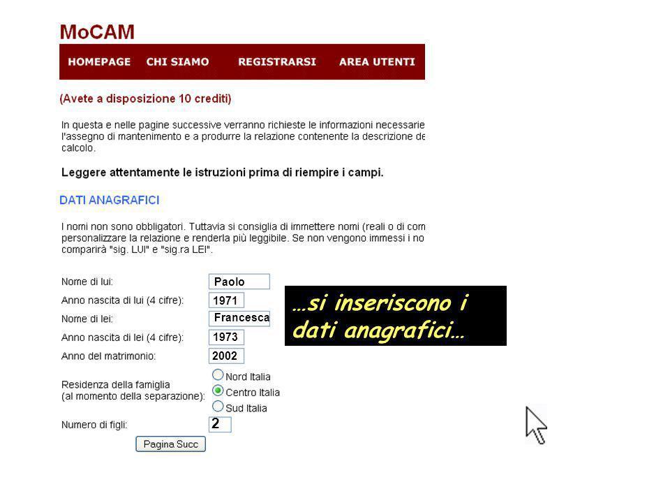 …si inseriscono i dati anagrafici… Paolo 1971 Francesca 1973 2002 2