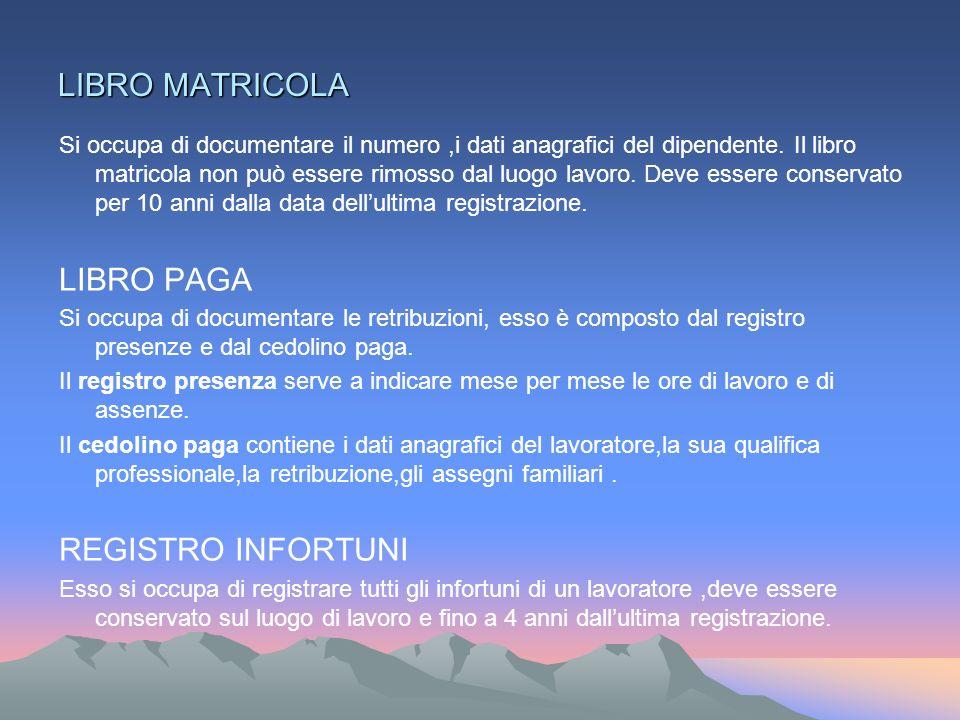 LIBRO MATRICOLA Si occupa di documentare il numero,i dati anagrafici del dipendente.