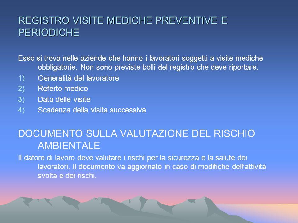 REGISTRO VISITE MEDICHE PREVENTIVE E PERIODICHE Esso si trova nelle aziende che hanno i lavoratori soggetti a visite mediche obbligatorie.