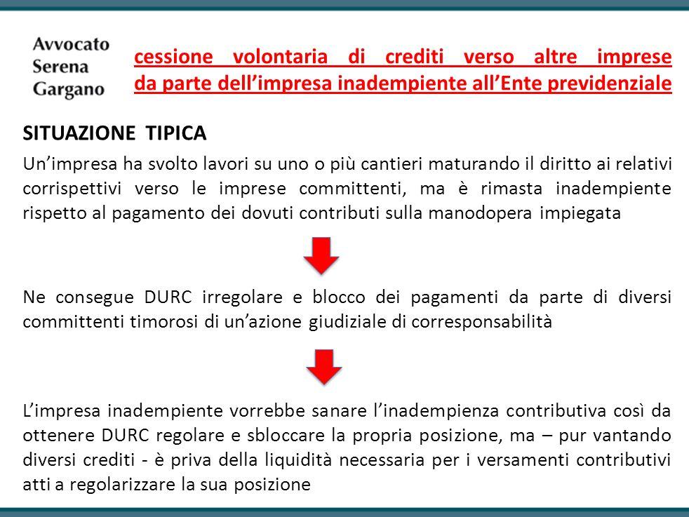 cessione volontaria di crediti verso altre imprese da parte dellimpresa inadempiente allEnte previdenziale SITUAZIONE TIPICA Unimpresa ha svolto lavor