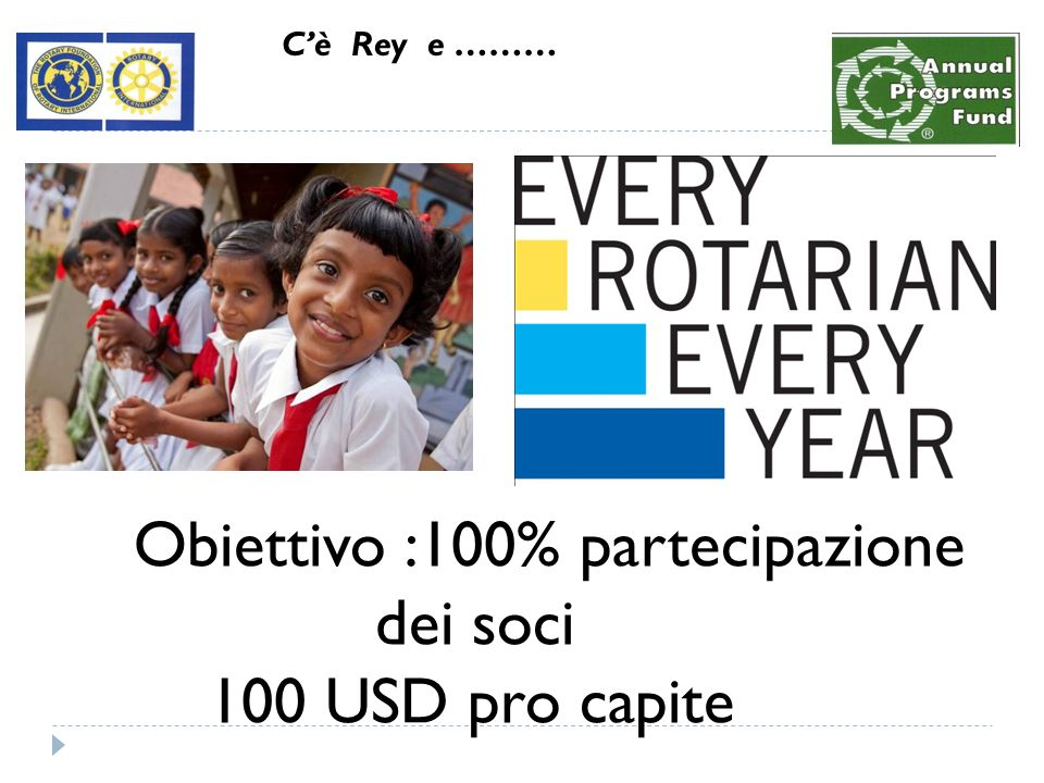 Obiettivo :100% partecipazione dei soci 100 USD pro capite Cè Rey e ………
