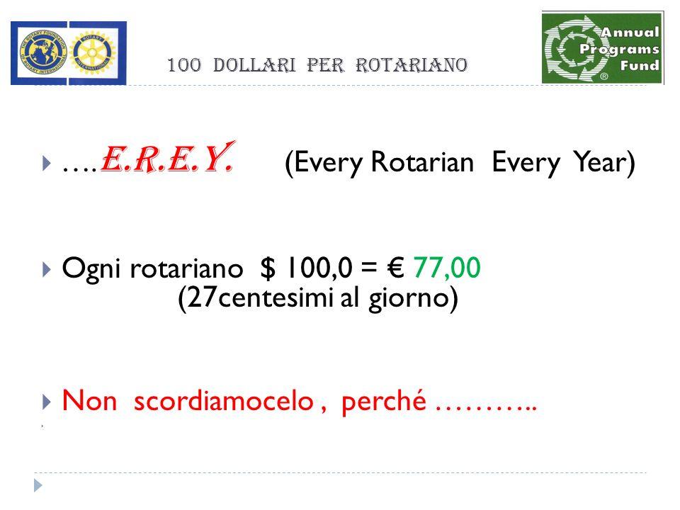 100 dollari per rotariano …. E.R.E.Y.