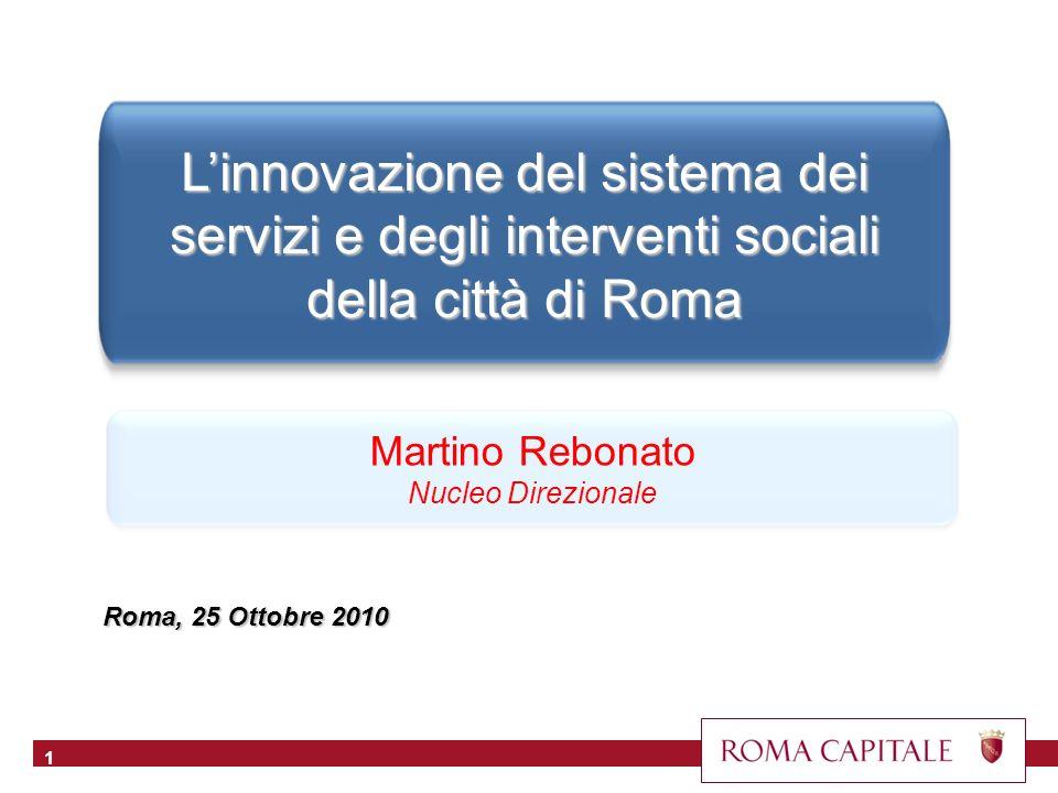Linnovazione del sistema dei servizi e degli interventi sociali della città di Roma Roma, 25 Ottobre 2010 1 Martino Rebonato Nucleo Direzionale