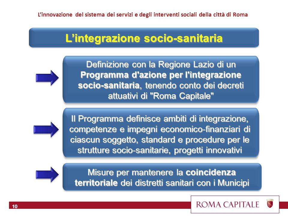 10 Definizione con la Regione Lazio di un Programma d'azione per l'integrazione socio-sanitaria, tenendo conto dei decreti attuativi di