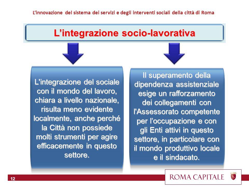 12 L'integrazione del sociale con il mondo del lavoro, chiara a livello nazionale, risulta meno evidente localmente, anche perché la Città non possied