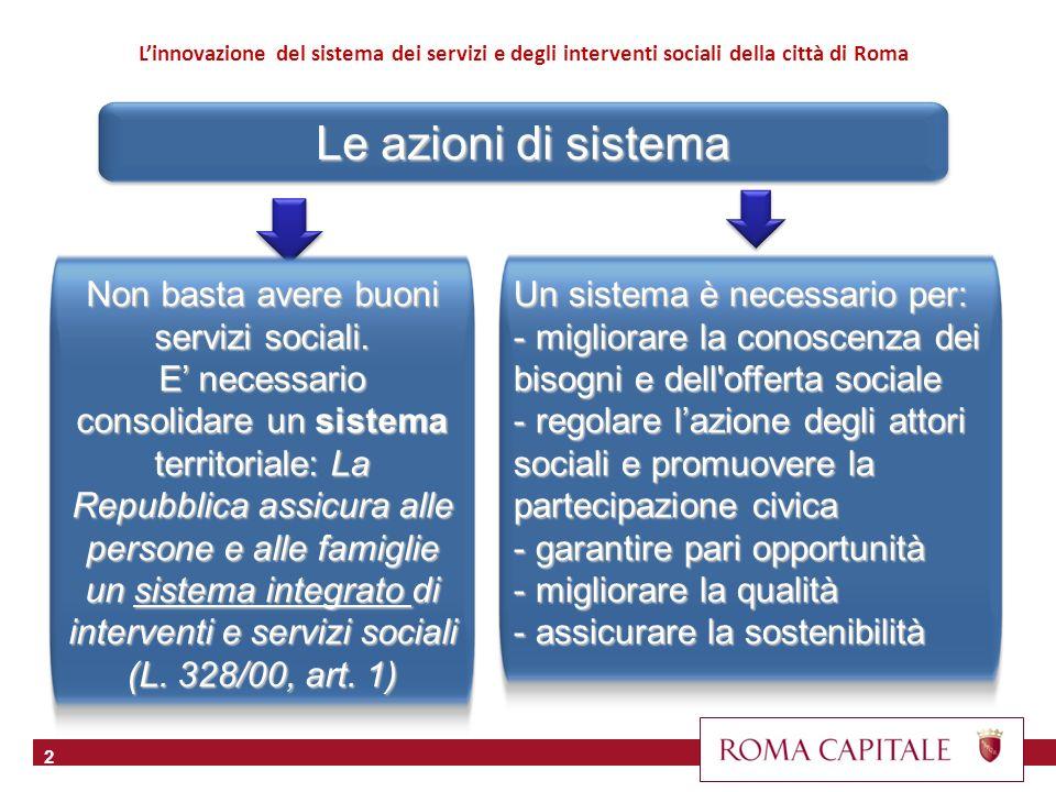 Le azioni di sistema 2 Linnovazione del sistema dei servizi e degli interventi sociali della città di Roma Un sistema è necessario per: - migliorare l