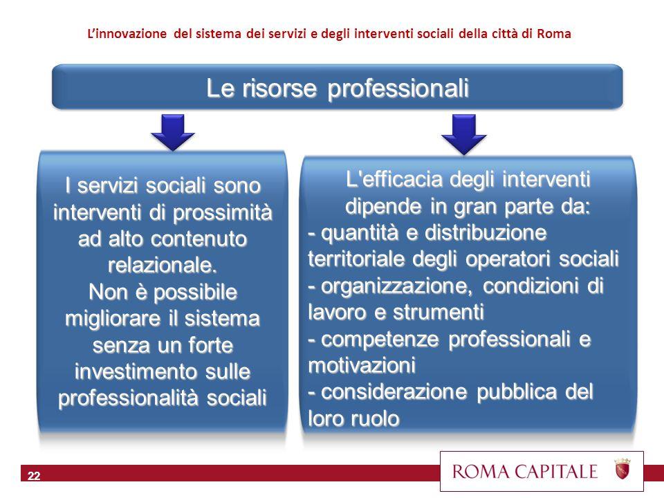 Le risorse professionali 22 L'efficacia degli interventi dipende in gran parte da: - quantità e distribuzione territoriale degli operatori sociali - o