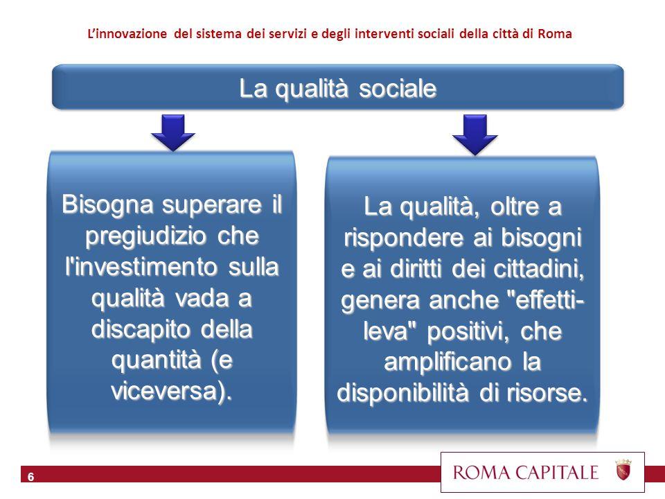 La qualità sociale 6 La qualità, oltre a rispondere ai bisogni e ai diritti dei cittadini, genera anche effetti- leva positivi, che amplificano la disponibilità di risorse.