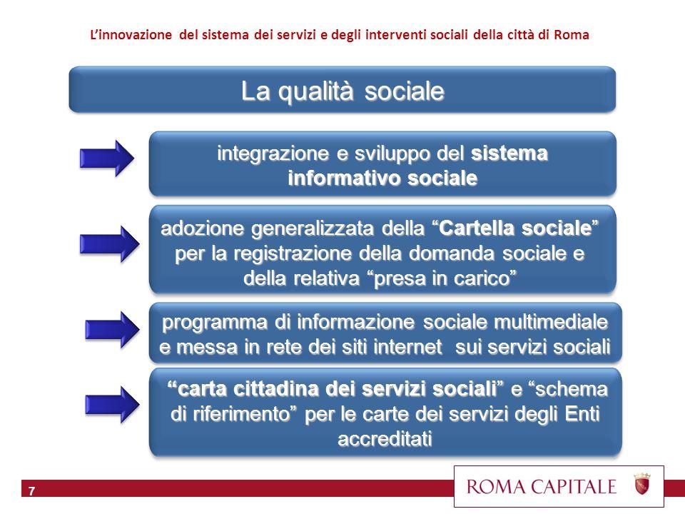 7 integrazione e sviluppo del sistema informativo sociale adozione generalizzata della Cartella sociale per la registrazione della domanda sociale e d